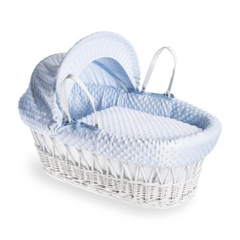 Cuddles Cuddles White Wicker Blue Dimple Moses Basket
