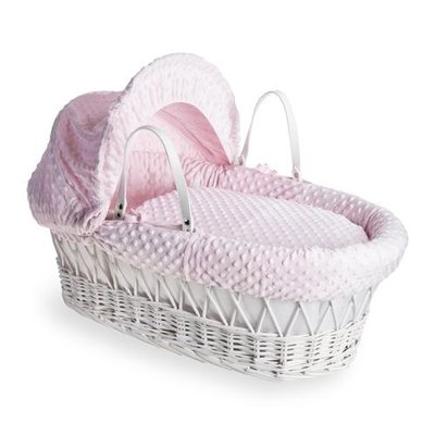 Cuddles Cuddles White Wicker Pink Dimples Moses Basket