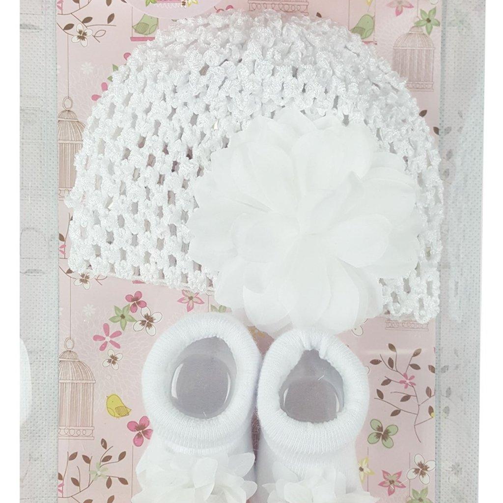 Christening Hat & Sock Set 0-12m