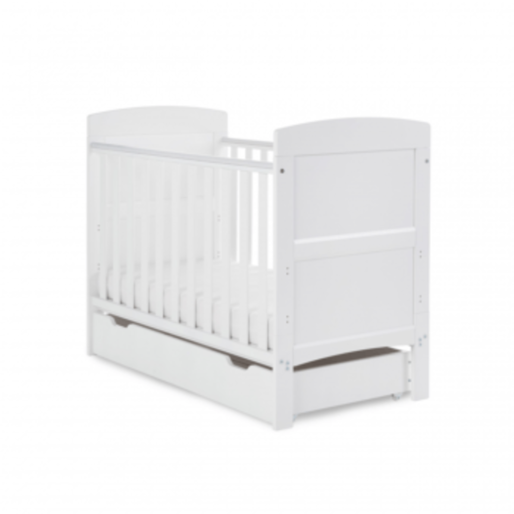 Obaby Grace Mini Cot Bed & Under Drawer White