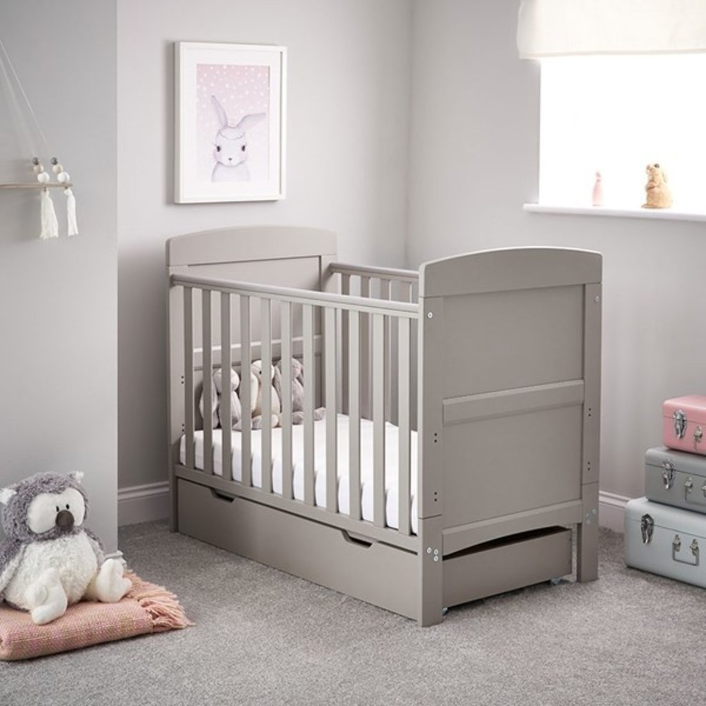 Obaby Grace Mini Cot Bed & Under Drawer Warm Grey