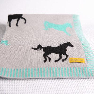 Babyboo BlankieBoo Organic Cotton Blanket-Mint/Black Horses