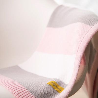 Babyboo Blankieboo Organic Cotton Blanket-Pink/Grey Stripes