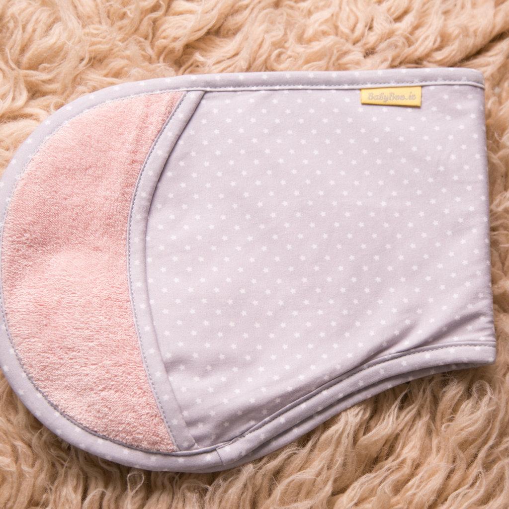 Babyboo Burpyboo Burp Towel-Blush Pink/ Grey Stars