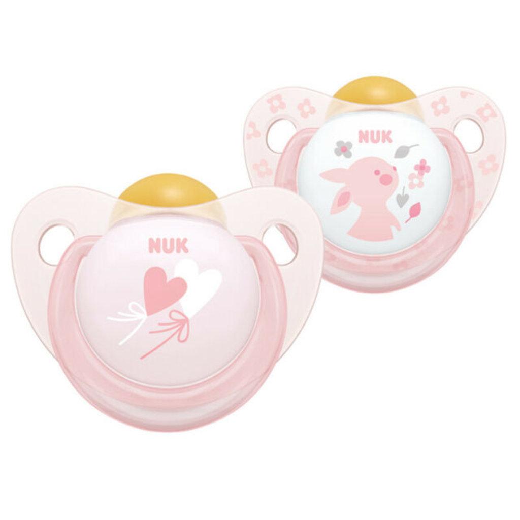 Nuk Nuk Latex Rose Soother Pink 0-6m 2pk