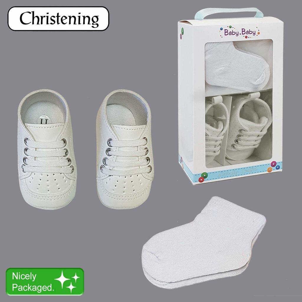 Daydream Boxed Boy's Christening Shoe & Socks