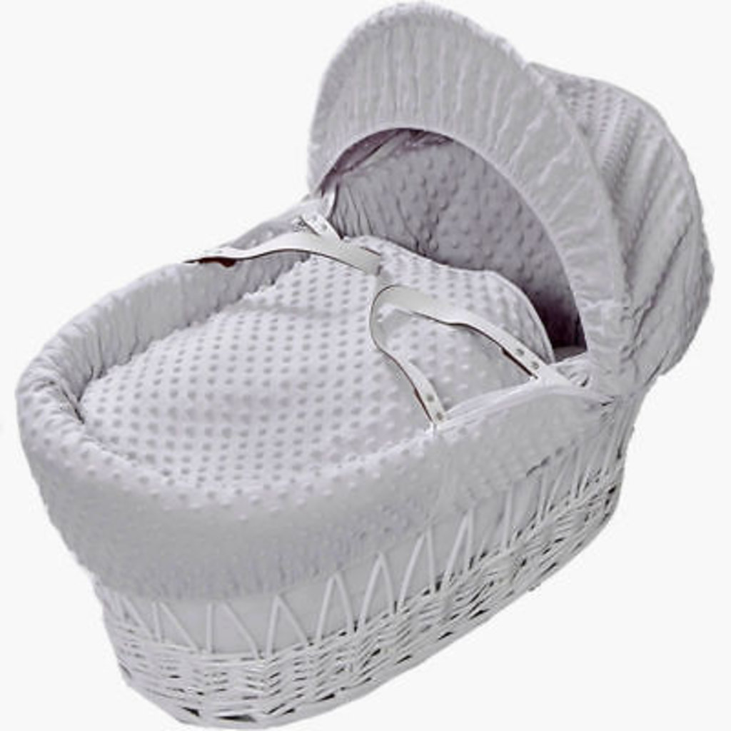 Cuddles Cuddles White Wicker Grey Dimples Moses Basket