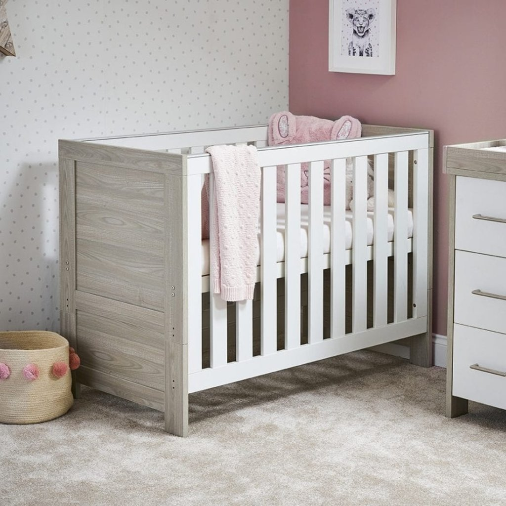 Obaby Nika Mini Cot Bed - Grey Wash With White