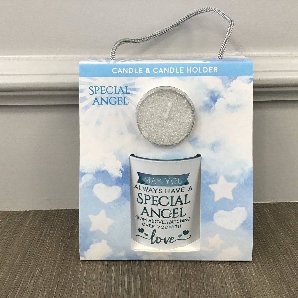 Royal County Special Angel Sentimental Candle & Candle Holder
