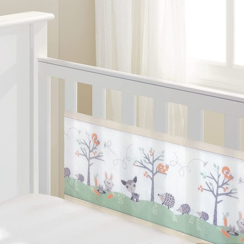 Breathable Baby Breathable  Mesh Cot Liner Woodland