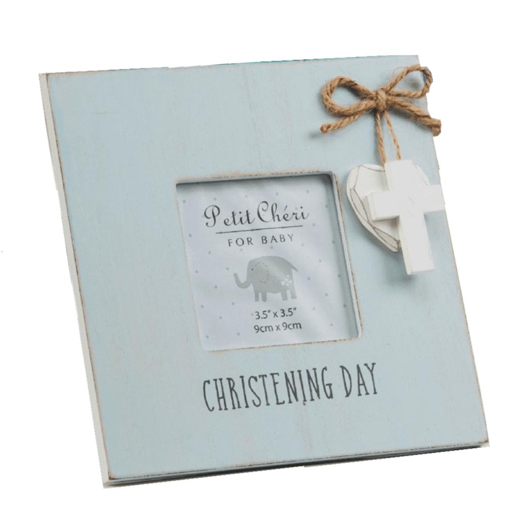 """Petit Cheri Petit Cheri Christening Blue Frame Heart  3.5"""" x 3.5"""""""