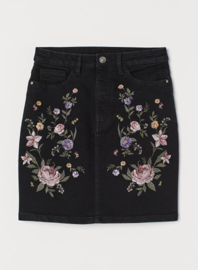 Denim rok met borduursel