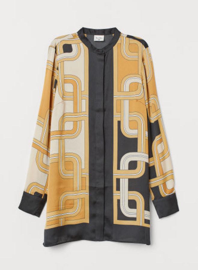 Satijnen blouse met dessin