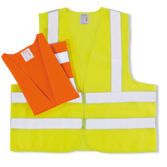 Safety vest two reflective strips and strips over the shoulders