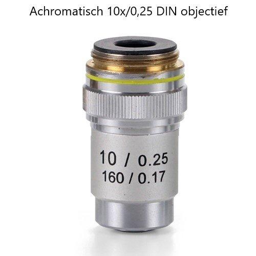 Achromatisches 10x / 0,25 DIN-Objektiv. Parafokal 45 mm