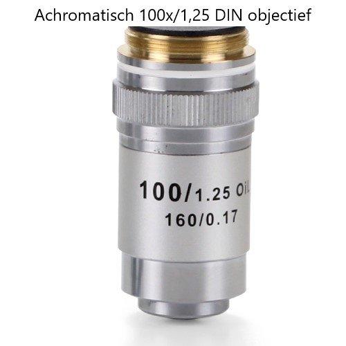 Achromatisch 100x/1,25 DIN objectief. Parafocaal 45 mm