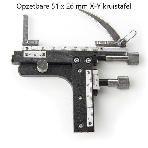 Opzetbare 51 x 26 mm X-Y kruistafel met nonius en horizontale regeling voor de EcoBlue serie