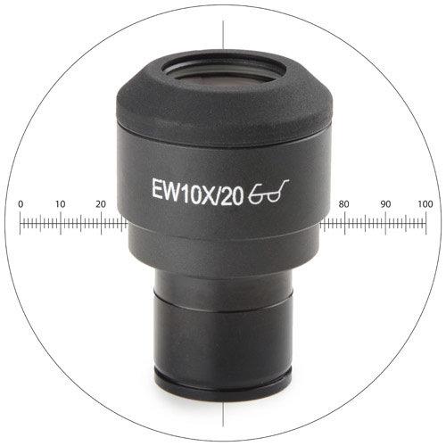 EWF 10x/20 mm oculair met 10/100 micrometer en kruisdraad, Ø 23,2 mm tubus