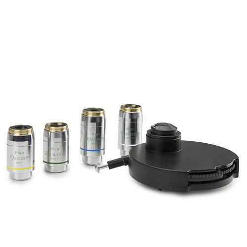 fasecontrastset met 10/20/S40 en S100x olie objectieven, geleverd met fasecontrastcondensor en roterende schijf met fasecontrastringen en centreertelescoop