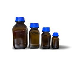 Botella de vidrio cuadrada, marrón