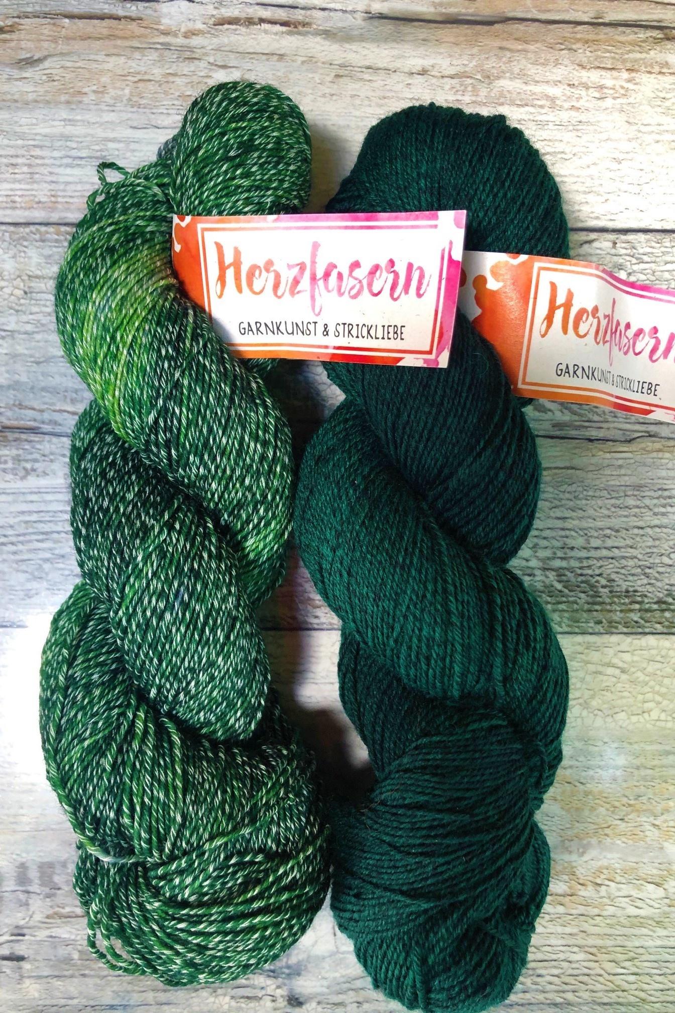 Sockenwolle mit Baumwollanteil - Grün gemischt