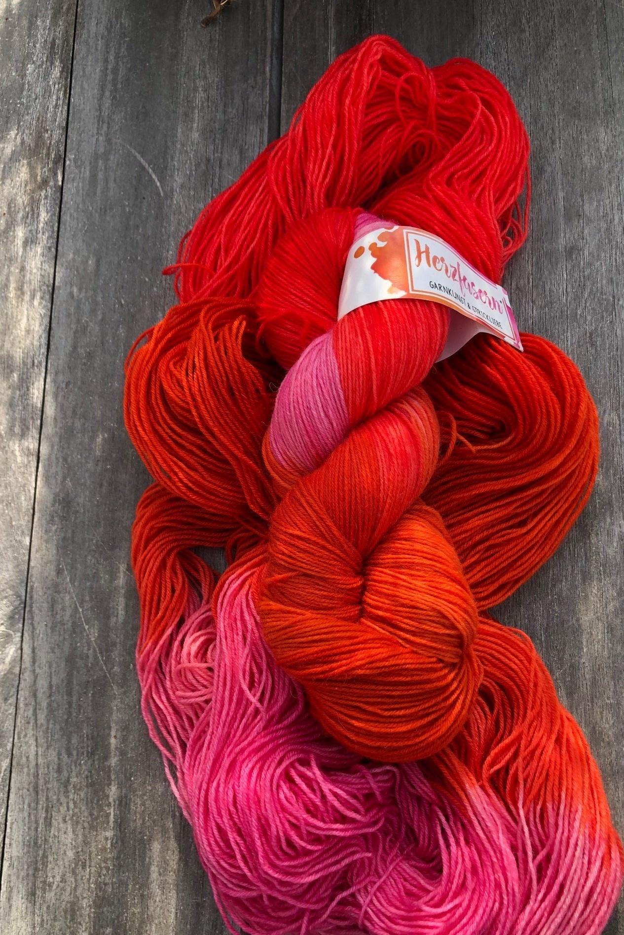 Herzfasern Sockenwolle - Rosa Orange