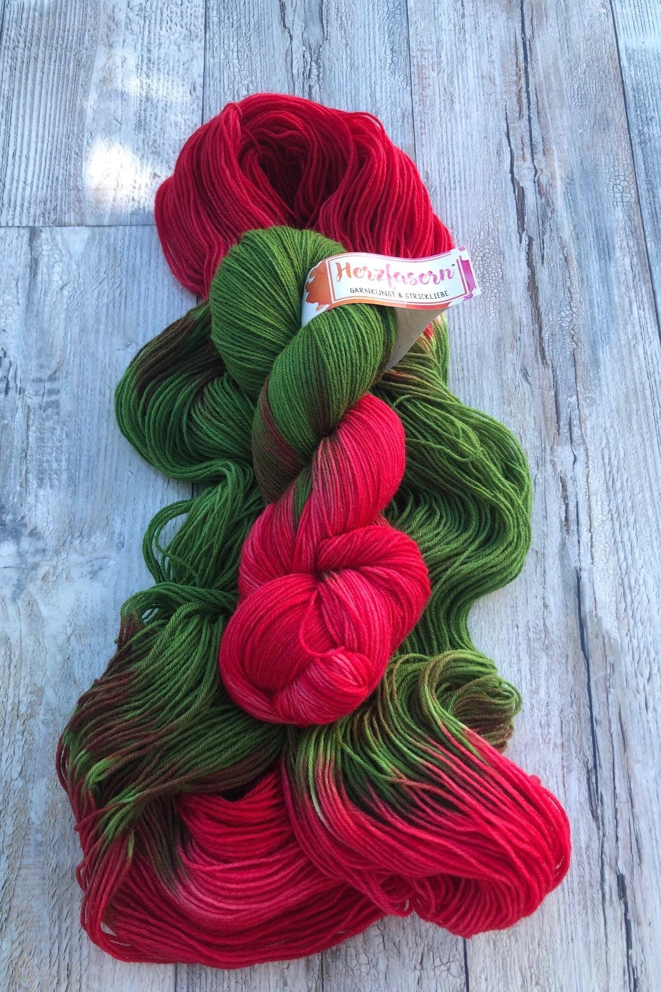 Herzfasern Sockenwolle - Rotkäpchen