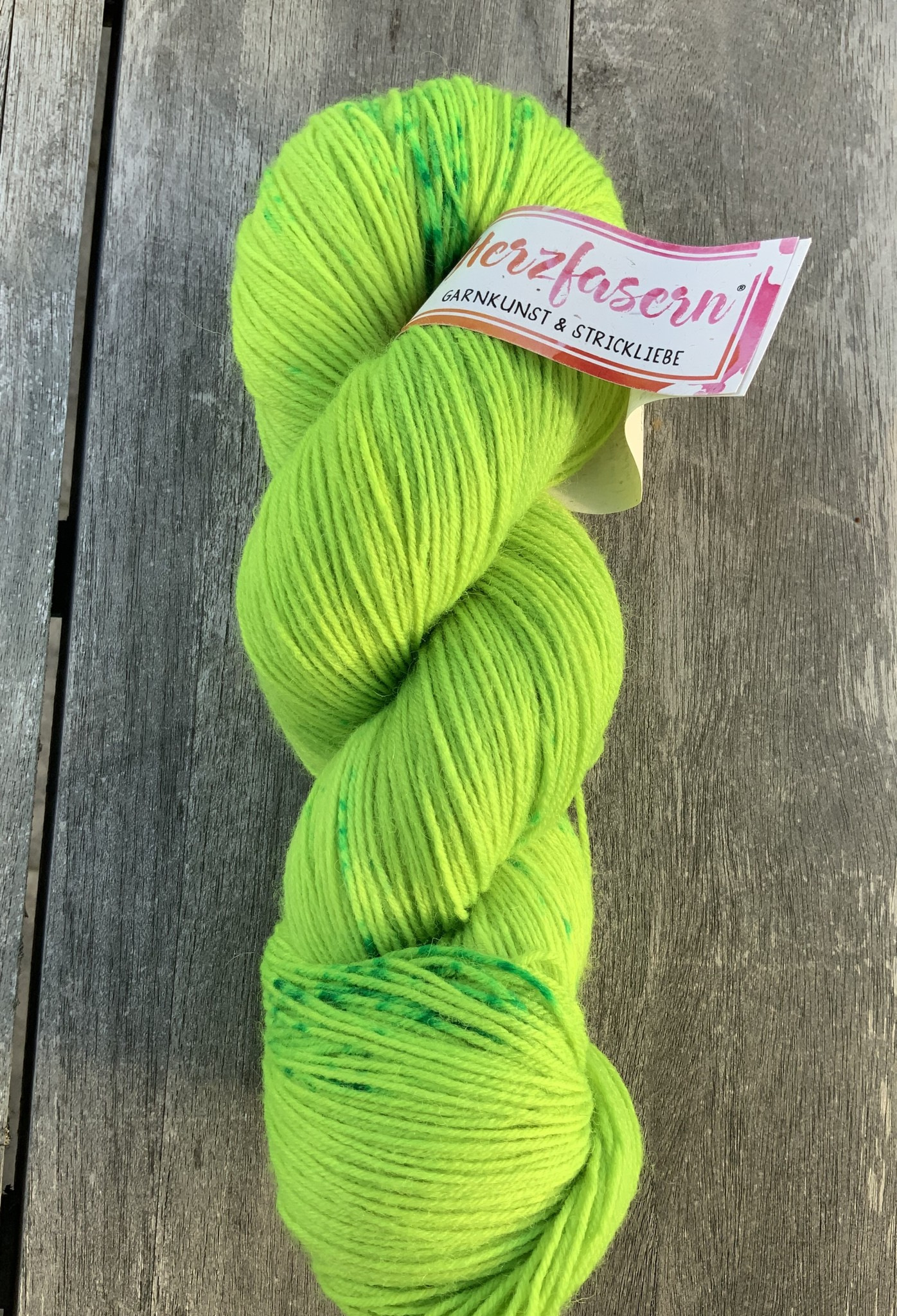 Herzfasern Sockenwolle - Greeny gesprenkelt