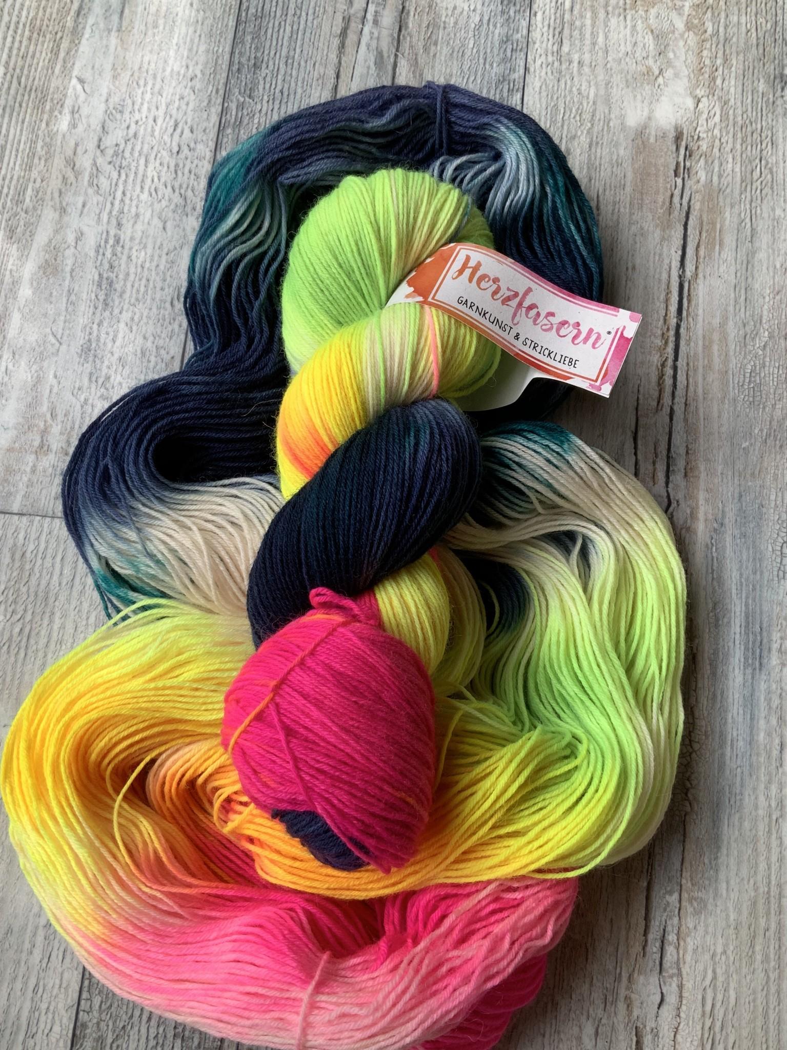 Herzfasern Sockenwolle -Farbenfroh