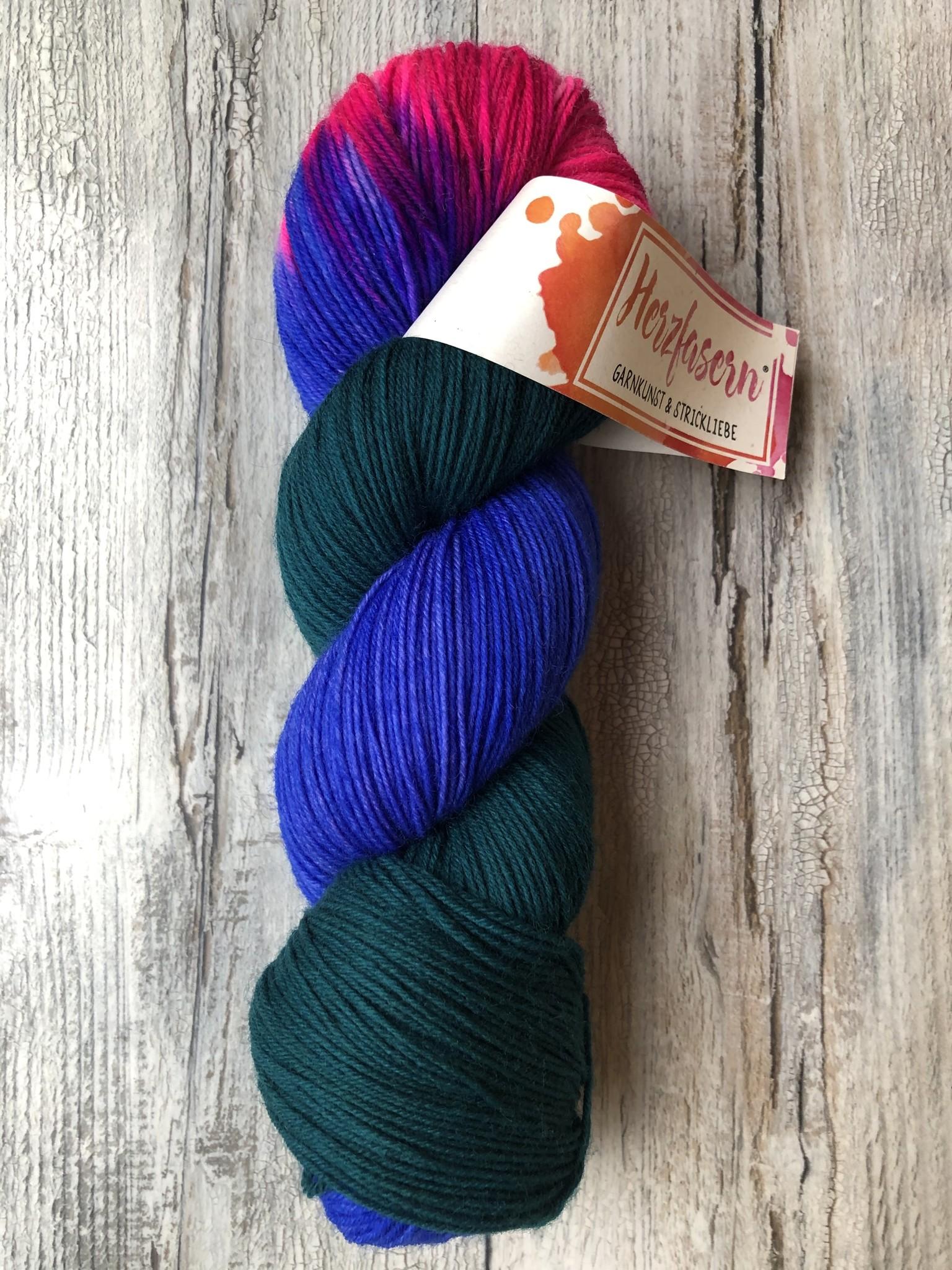 Herzfasern Sockenwolle - Paradiesvogel