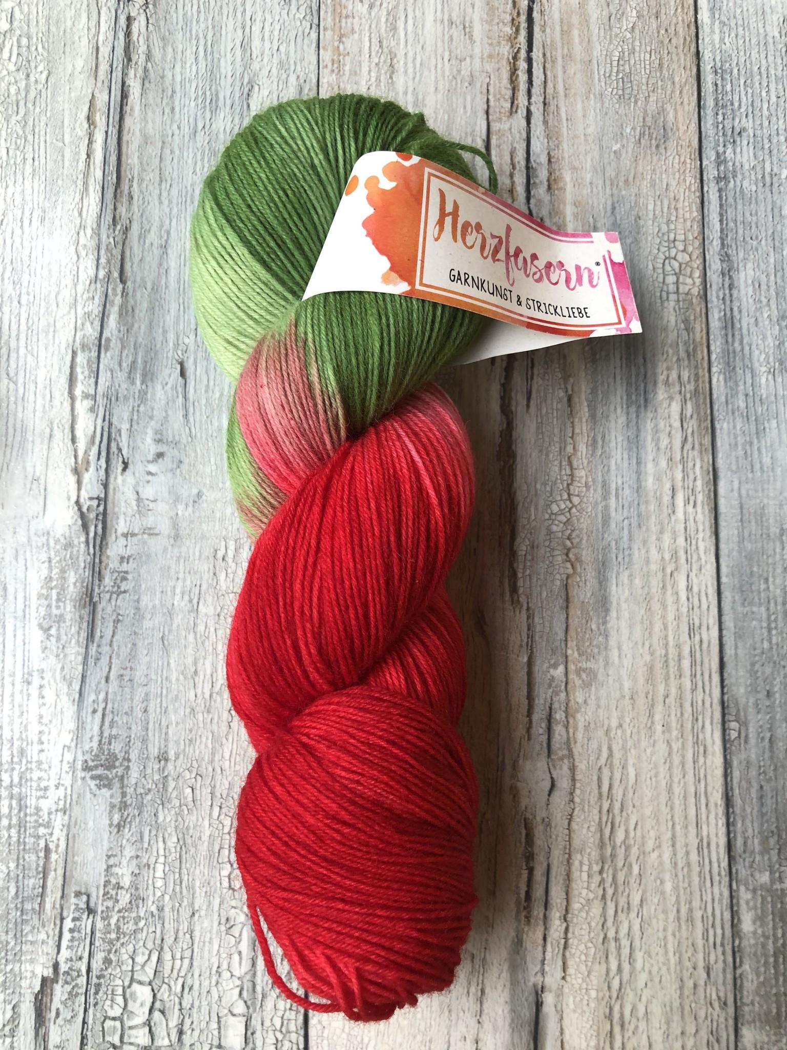 Herzfasern Sockenwolle - Rotkäppchen