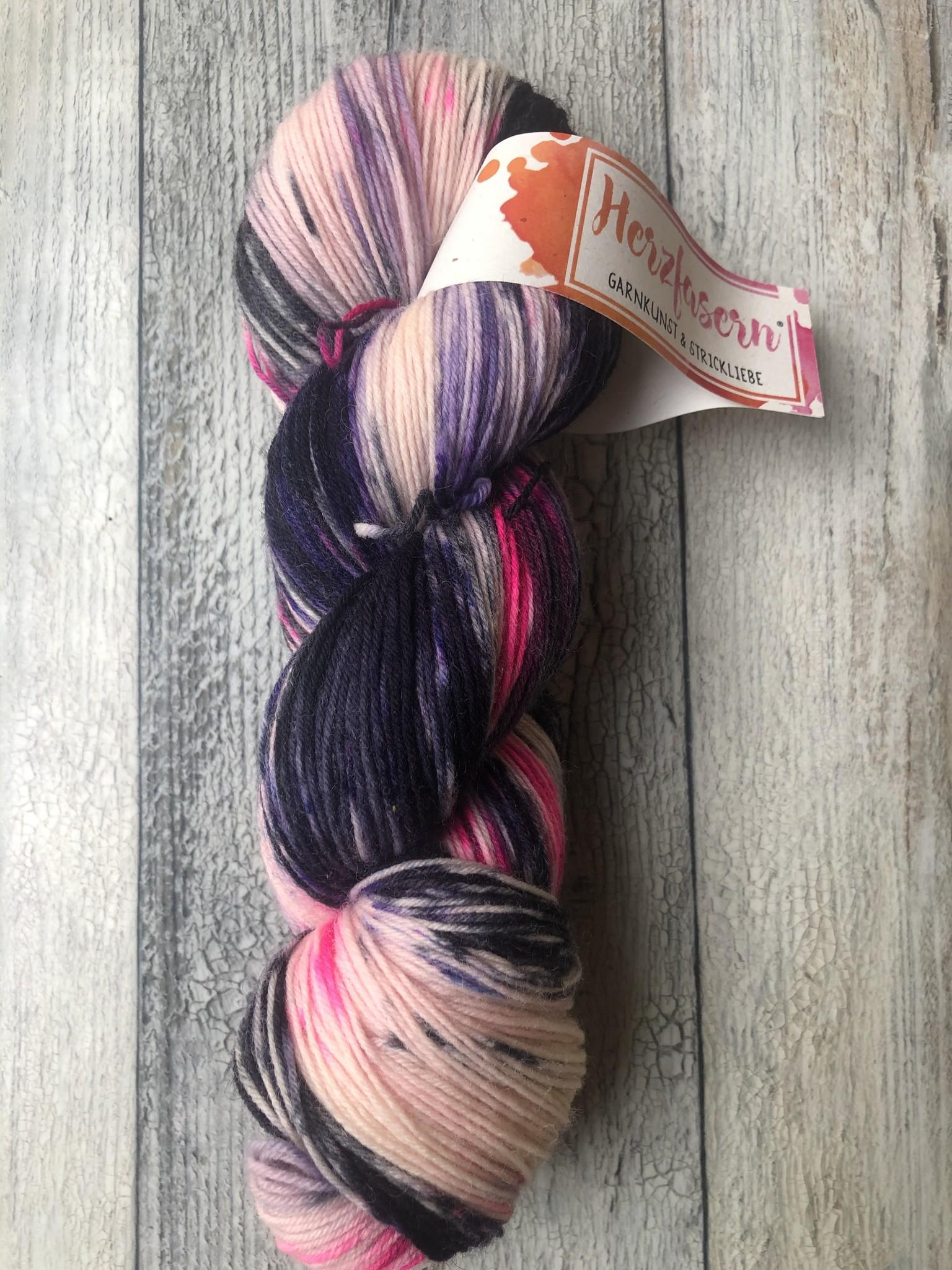 Herzfasern Sockenwolle -Pink-Noir
