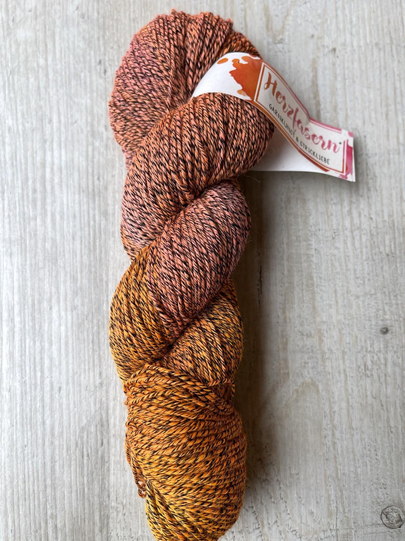Sockenwolle mit Baumwollanteil -orange pink