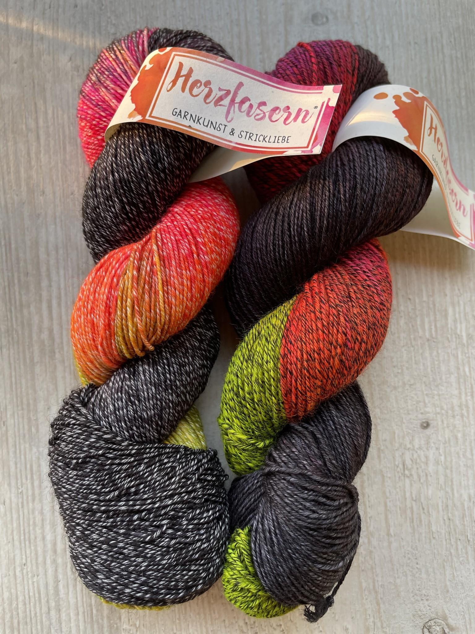 Sockenwolle mit Baumwollanteil -Mr. Gray and Neon