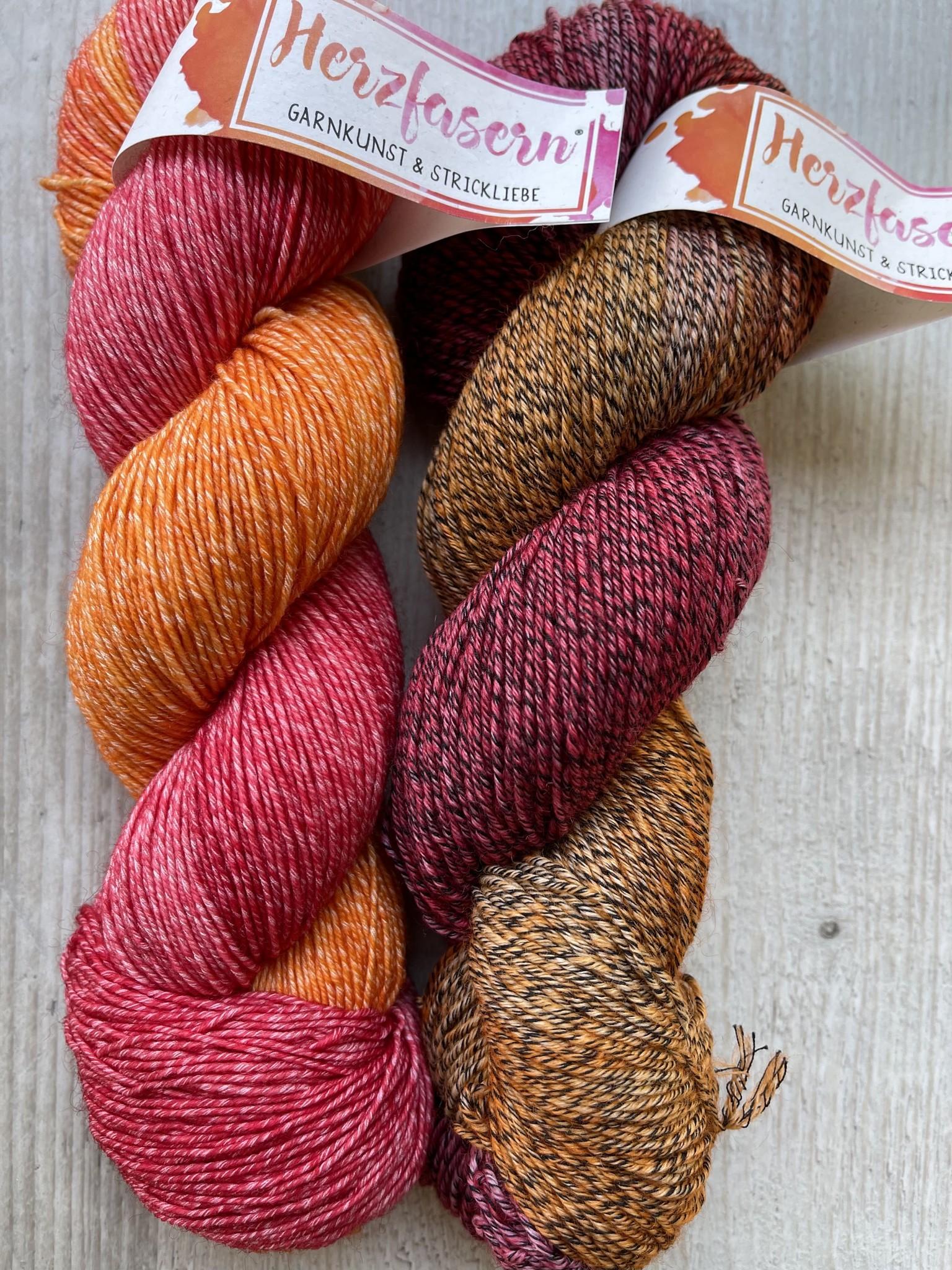 Sockenwolle mit Baumwollanteil -Orangenhain