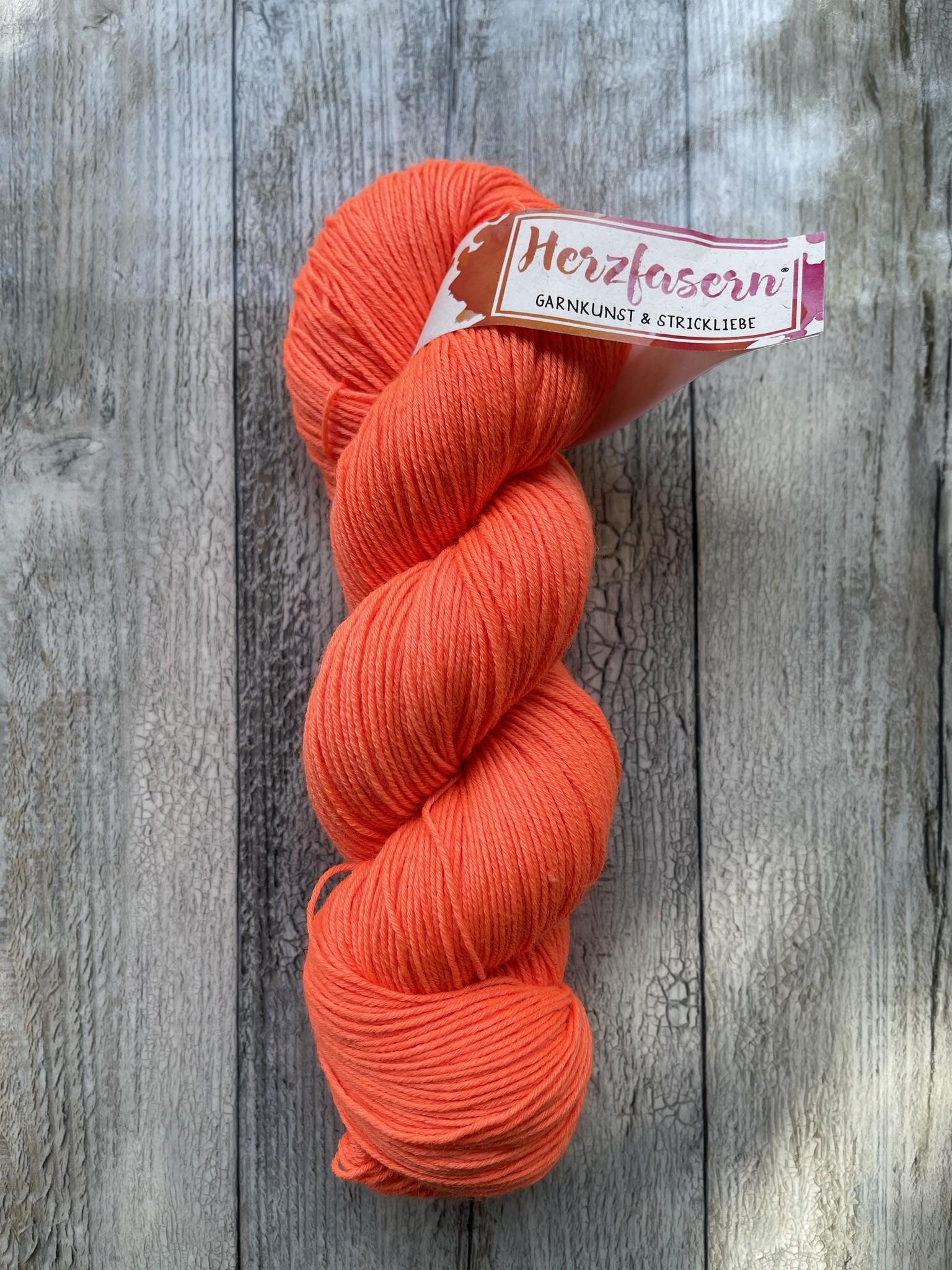 Herzfasern Merino/Seide - Orange -Neon