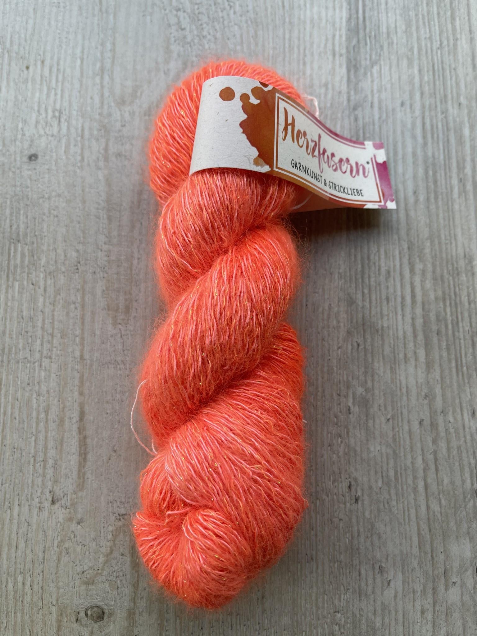 Herzfasern Liebling 2- 58 Seide Mohair Lurex Neon Impressionen Orange