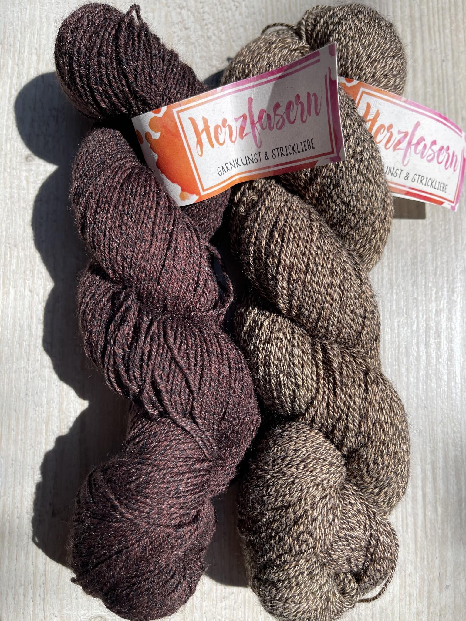 Sockenwolle mit Baumwollanteil -Braun