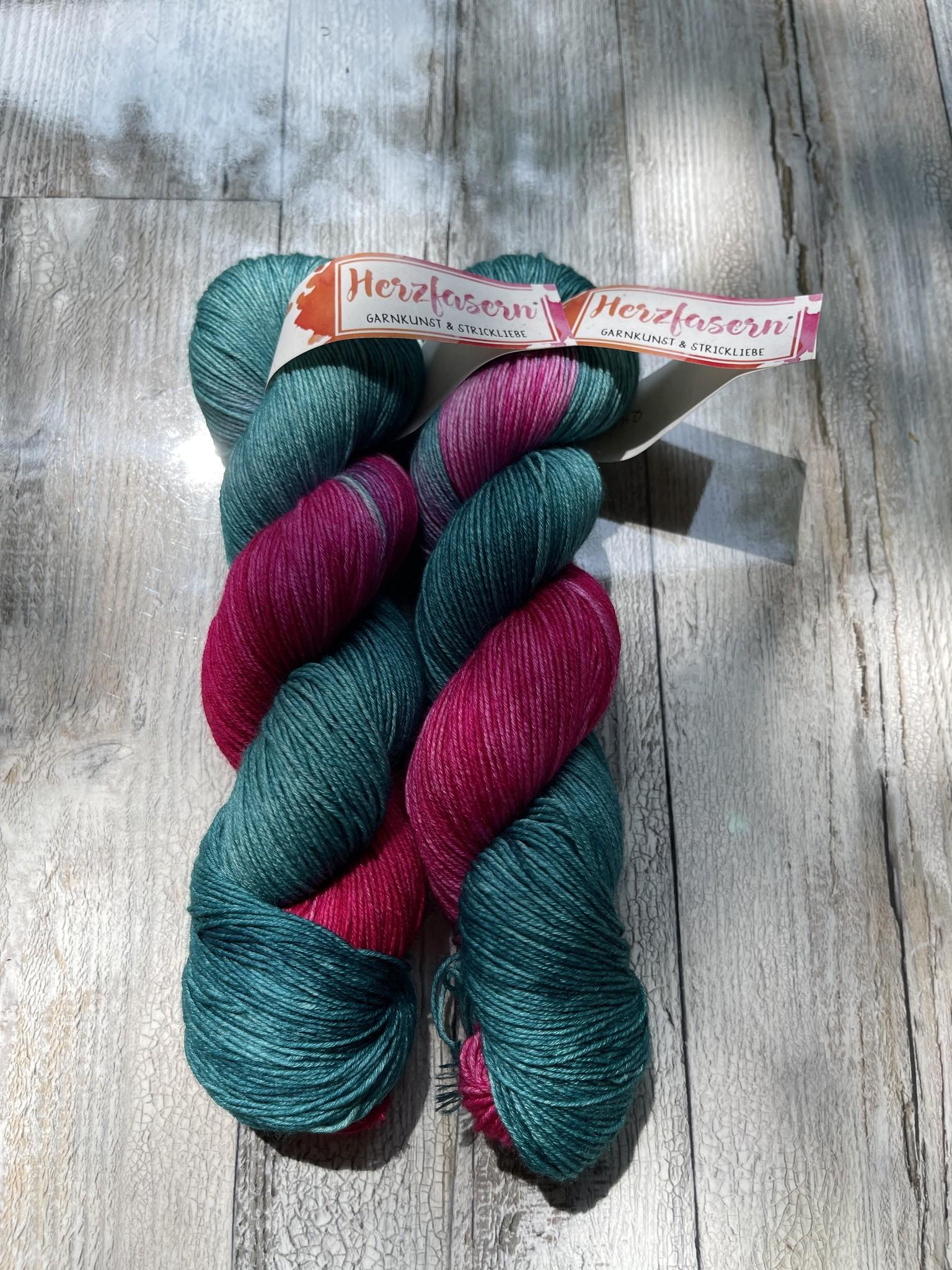 Herzfasern Merino/Seide - Flowers Smaragd