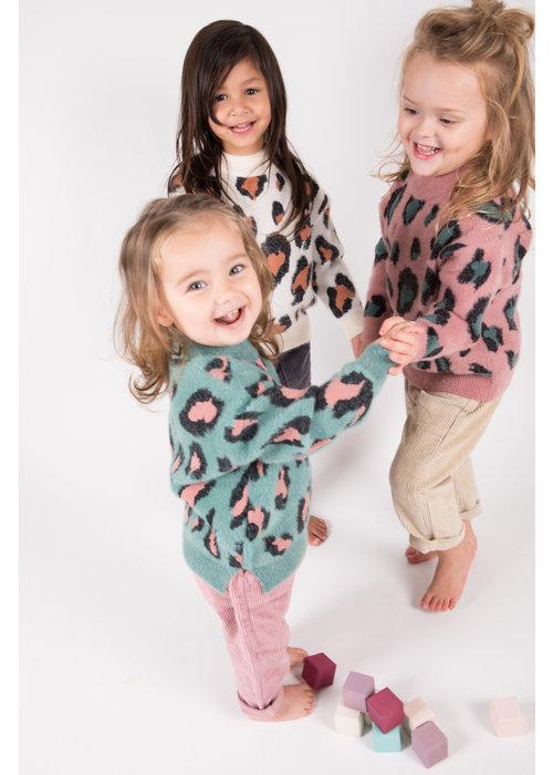 Sunny Novmbr Wollen Trui Lola Leopard Turquoise