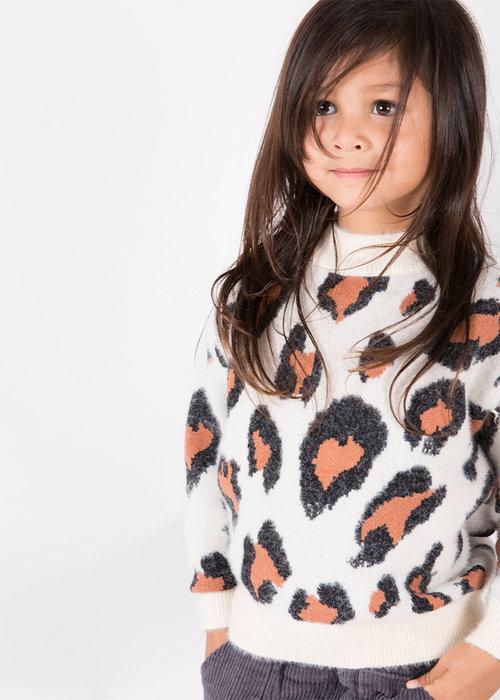 Sunny Novmbr Wollen Trui Lola Leopard Wit