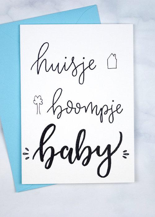 Witty Ink Kaart - Huisje, Boompje, Baby