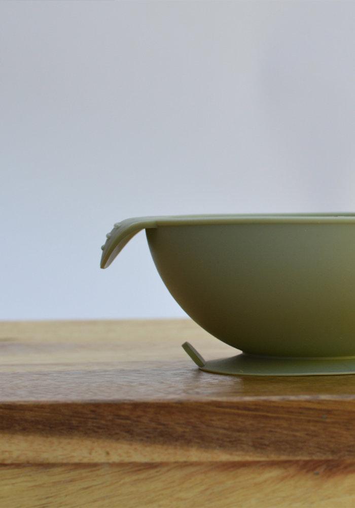 Siliconen Kom met Zuignap Olijf Groen (BPA vrij)  - Copy