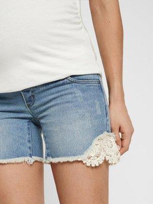 Mamalicious zwangerschapsjeans korte broek spijkerblauw kant