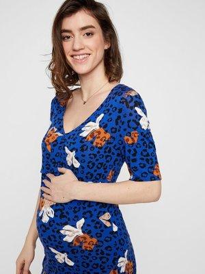 Mamalicious zwangerschapstuniek panter bloemenprint blauw