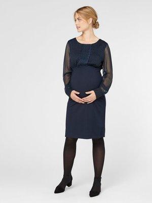 Mamalicious zwangerschapsjurk donker blauw stippen voile