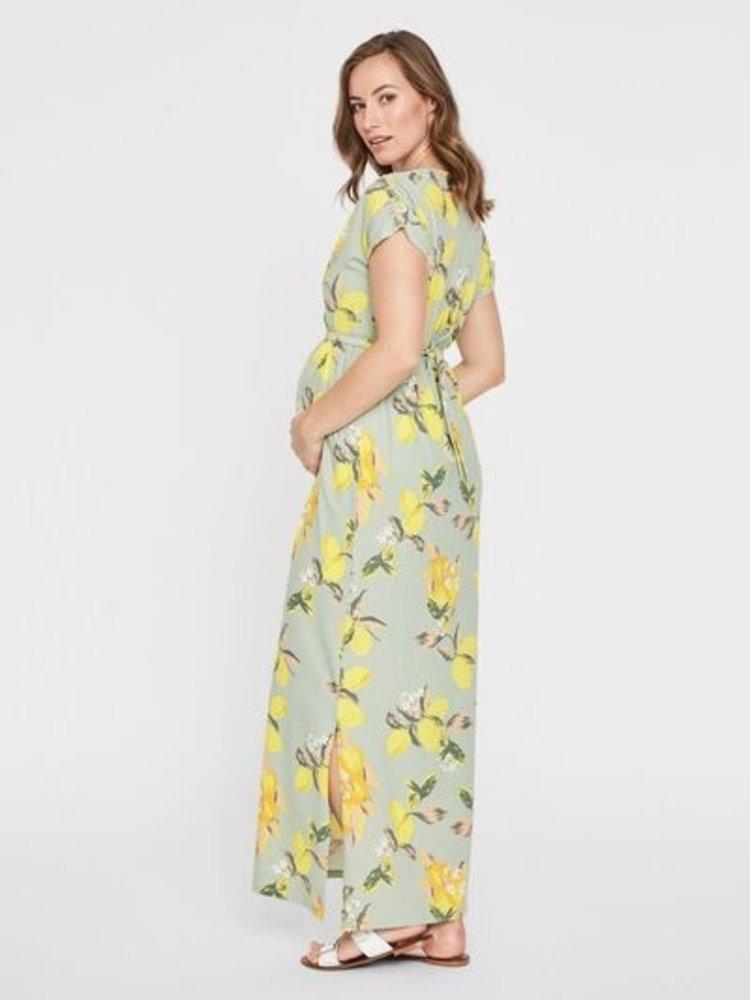 Mamalicious zwangerschapsjurk maxi jurk citroen