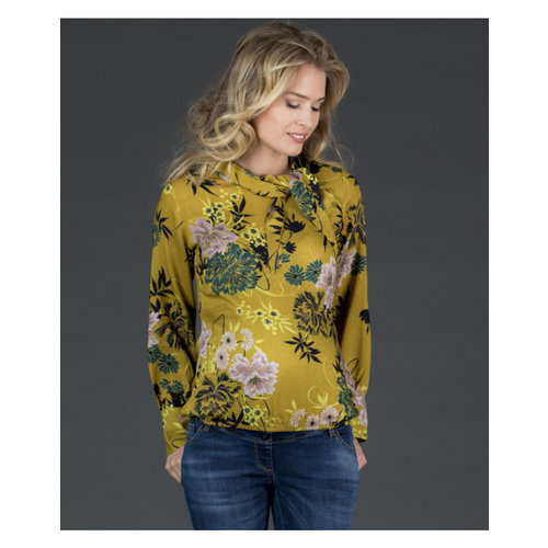 Love2wait zwangerschapsblouse flower oker
