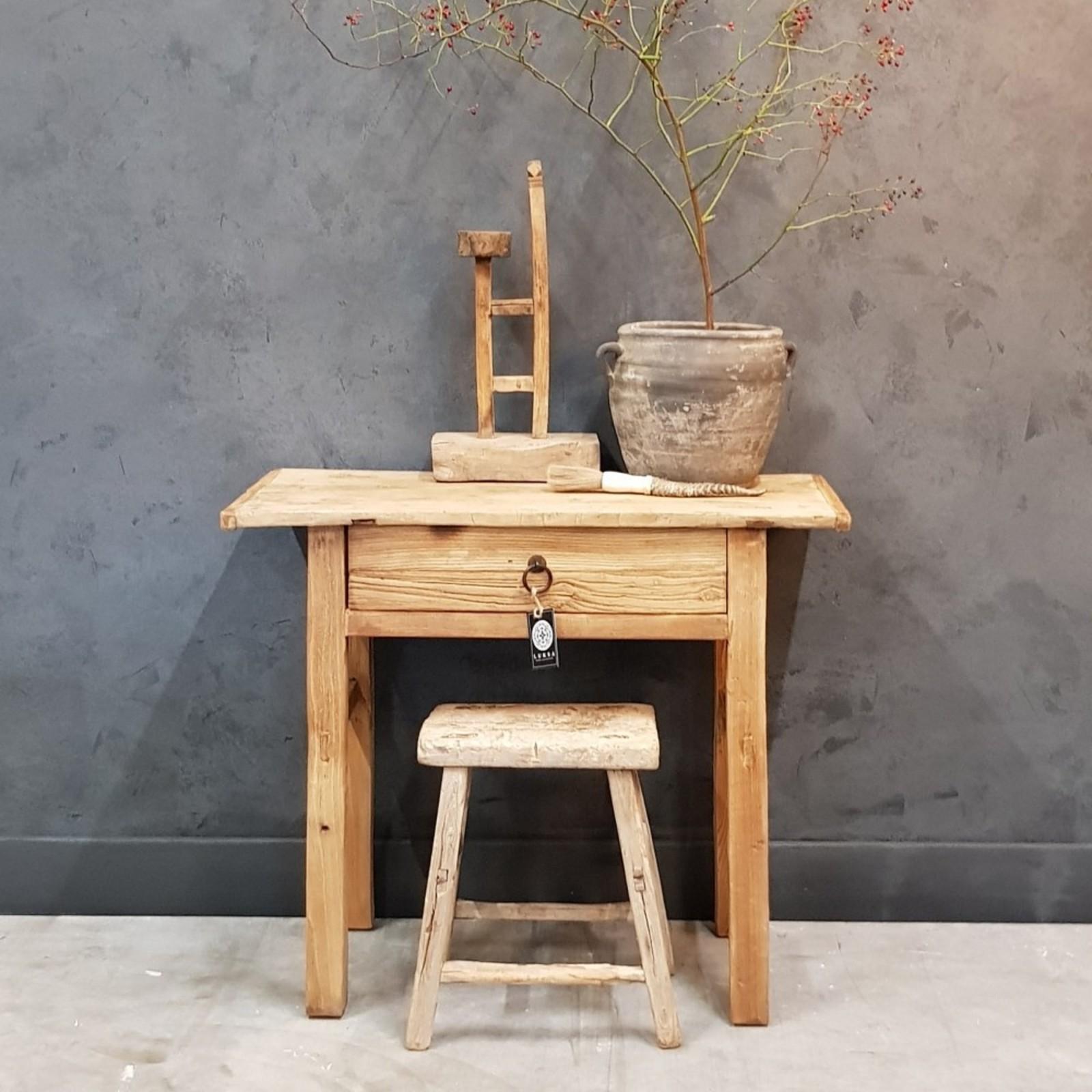 Luksa oud houten wandtafel - 1 lade