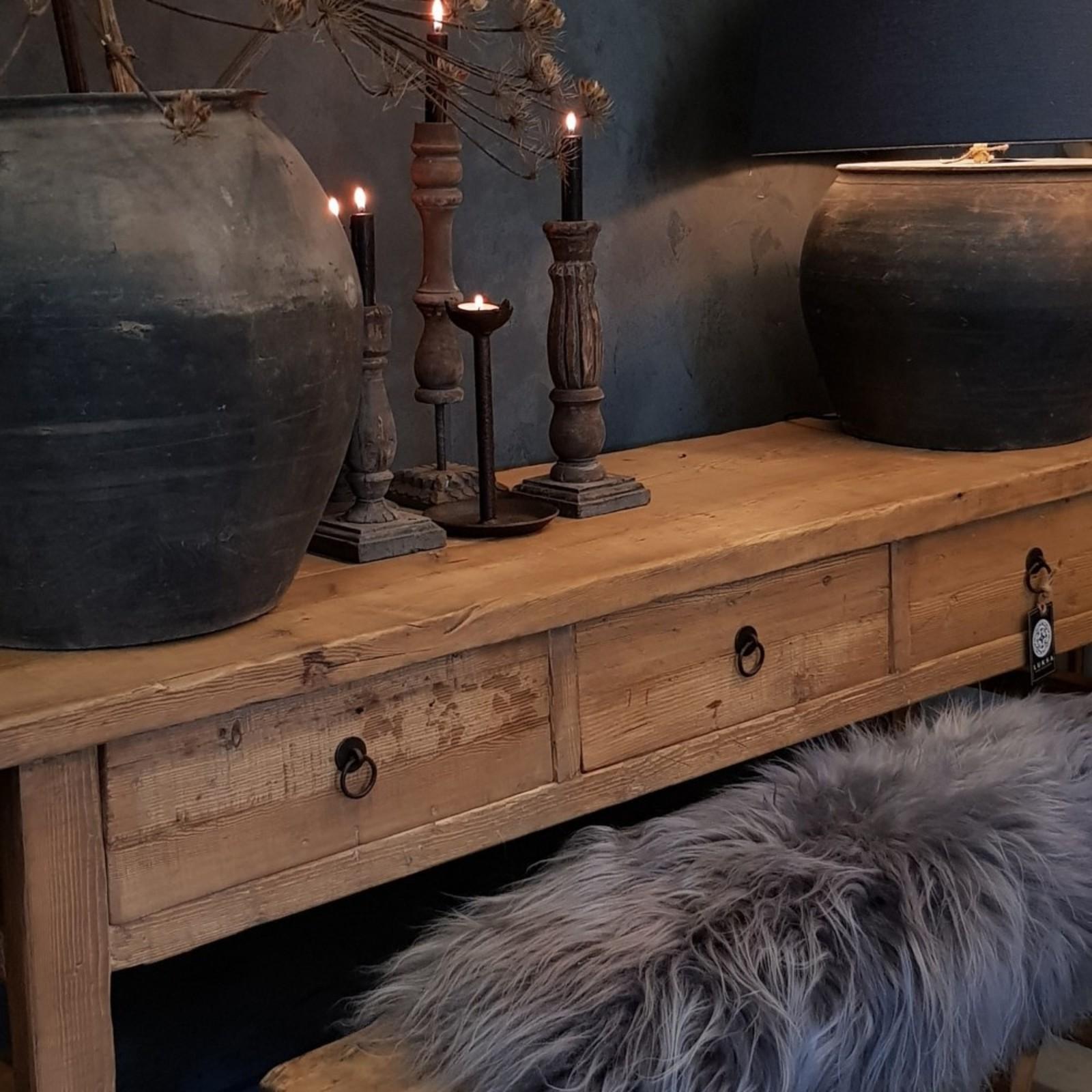 Luksa oud houten wandtafel met 3 lades